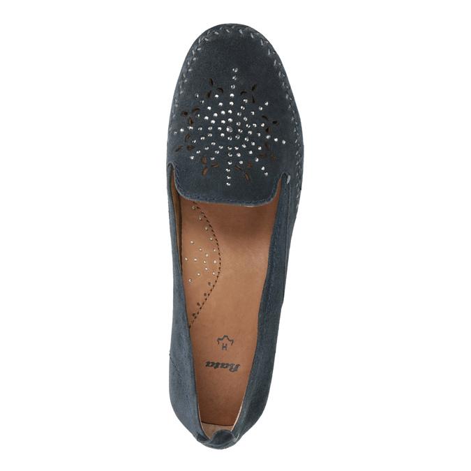 Damen-Leder-Mokassins der Weite H bata, Blau, 523-9603 - 19
