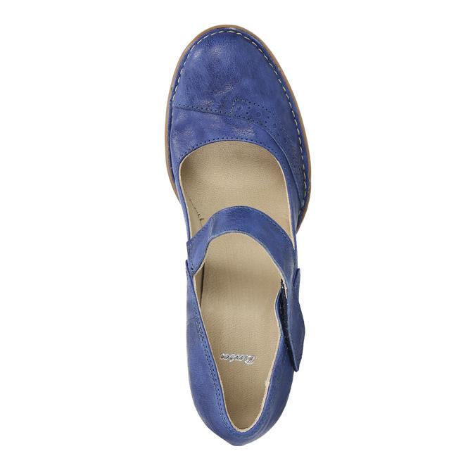Lederpumps mit einem Riemchen über den Spann bata, Blau, 626-9641 - 19