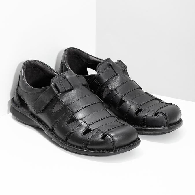 Schwarze Herrensandalen aus Leder bata, Schwarz, 864-6600 - 26