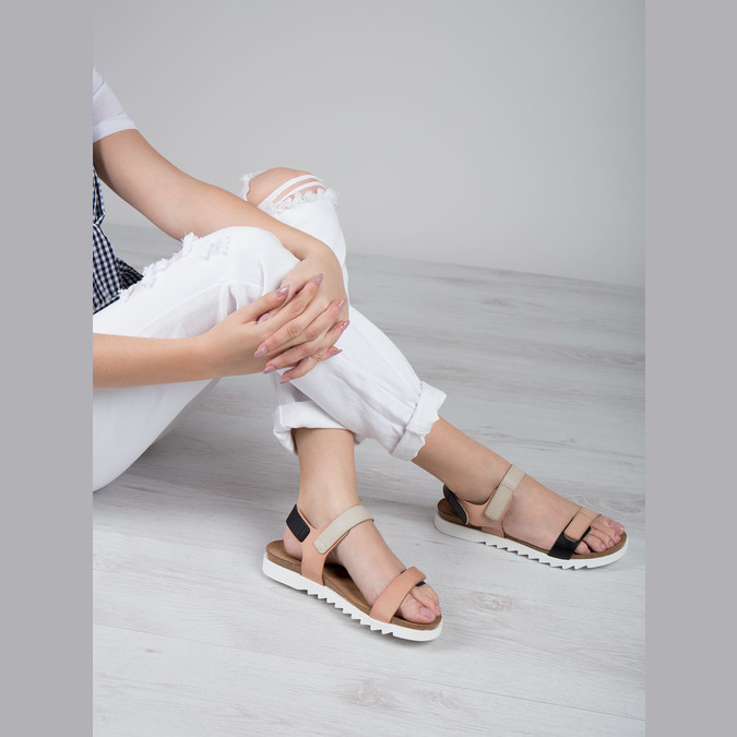Damen-Ledersandalen mit Klettverschluss weinbrenner, Rosa, 566-3630 - 18