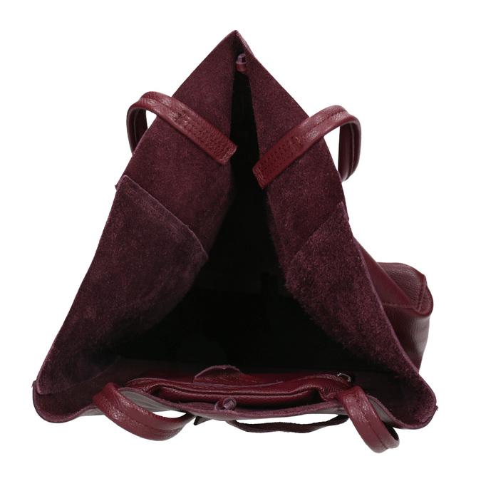 Weinrote Shopper-Handtasche aus Leder bata, Rot, 964-5522 - 15