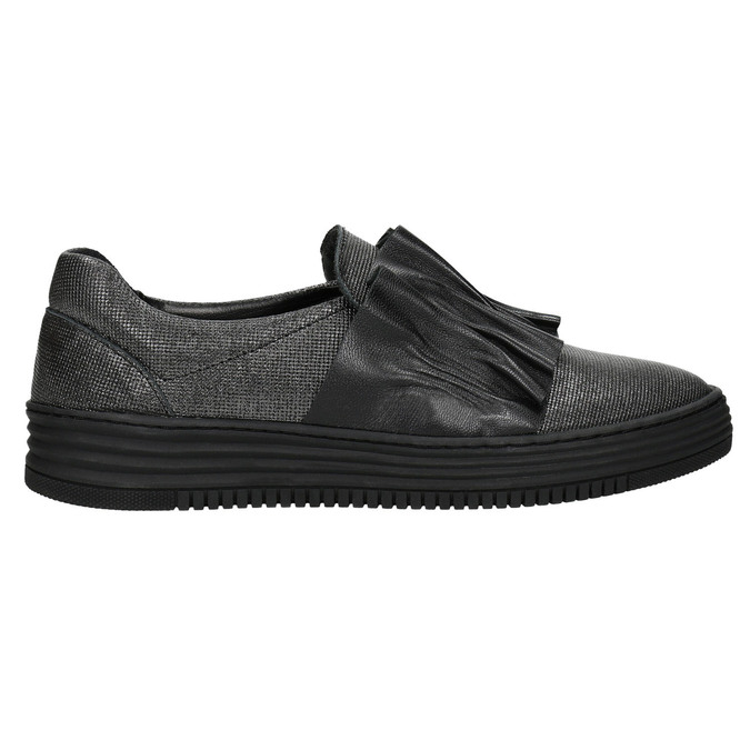 Damen-Slip-Ons aus Leder bata, Schwarz, 516-6614 - 15