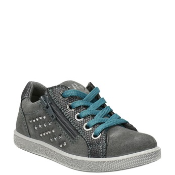Kinder-Sneakers aus Leder mit Zwecken mini-b, Grau, 323-2173 - 13