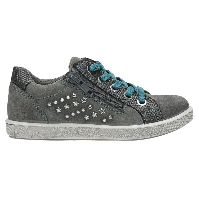 Kinder-Sneakers aus Leder mit Zwecken mini-b, Grau, 323-2173 - 15