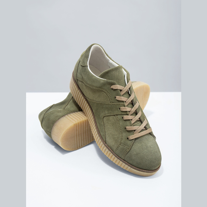 Khaki Damen-Sneakers aus Leder bata, Grűn, 523-7604 - 19