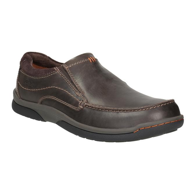 Herren-Mokassins aus Leder mit Steppung clarks, Braun, 816-4022 - 13
