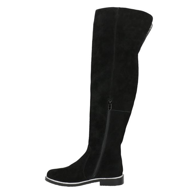Overknee-Stiefel aus geschliffenem Leder bata, Schwarz, 593-6605 - 26