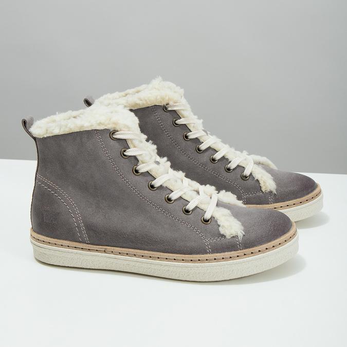 Knöchelhohe Leder-Sneakers mit Kunstpelz weinbrenner, Grau, 596-2627 - 18