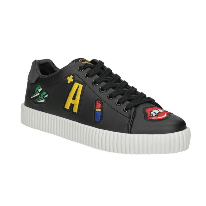 Schwarze Sneakers mit Aufnähern north-star, Schwarz, 541-9602 - 13