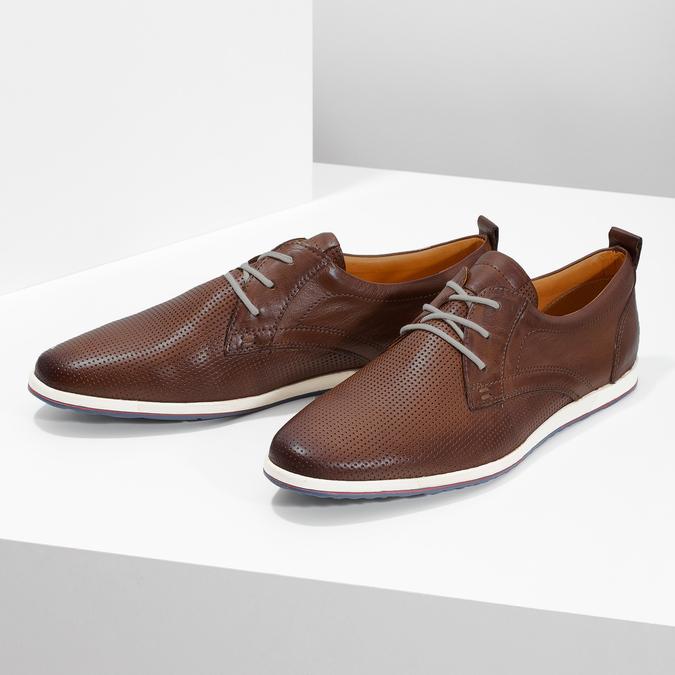 Lässige Leder-Sneakers bata, Braun, 824-4124 - 16